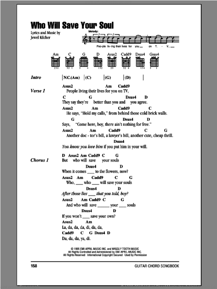 Who Will Save Your Soul sheet music for guitar (chords) by Jewel Kilcher and Jewel. Score Image Preview.