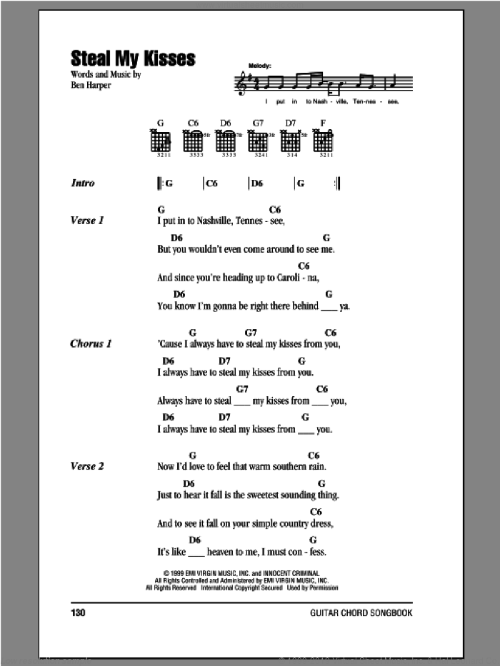Steal My Kisses sheet music for guitar (chords) by Ben Harper And The Innocent Criminals and Ben Harper, intermediate. Score Image Preview.