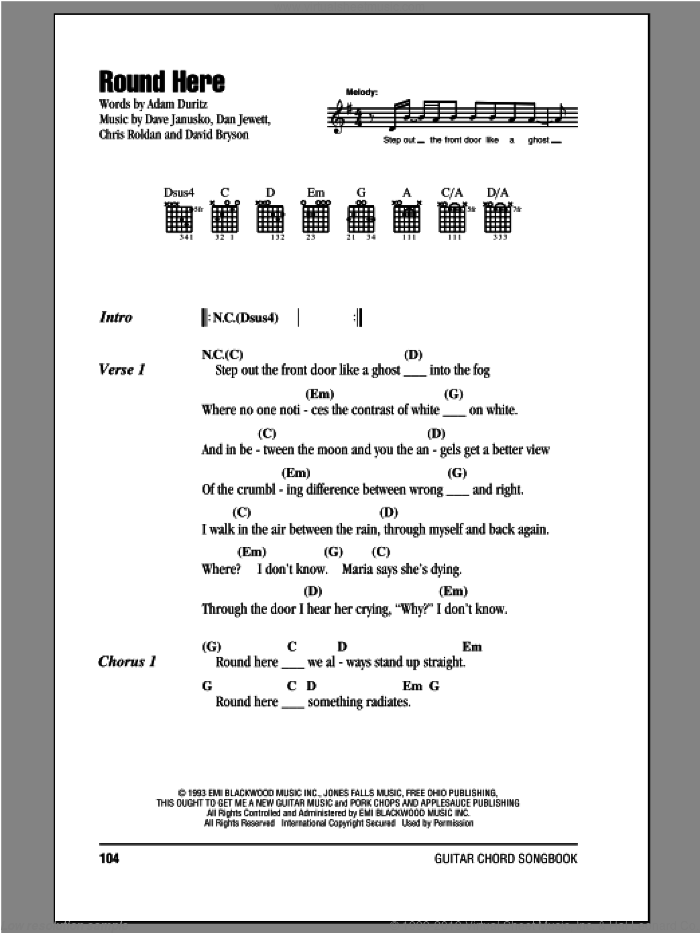 Round Here sheet music for guitar (chords) by Counting Crows