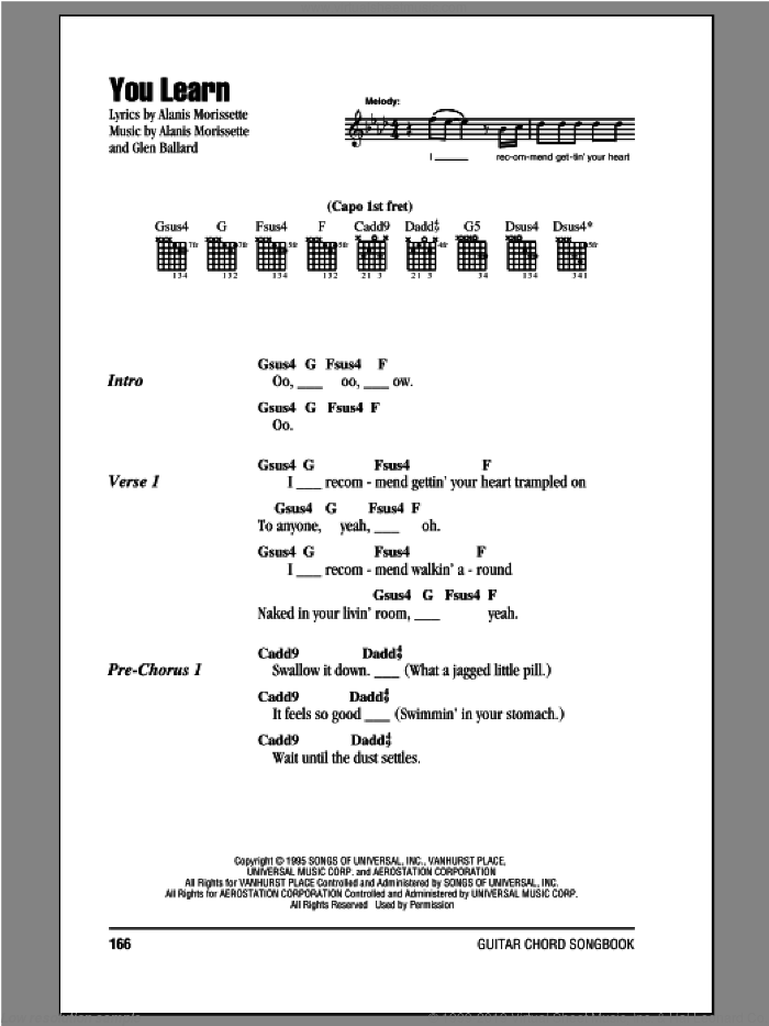 You Learn sheet music for guitar (chords) by Glen Ballard