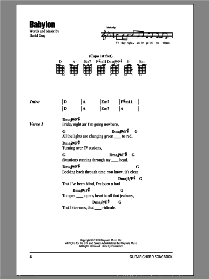 Babylon sheet music for guitar (chords) by David Gray. Score Image Preview.