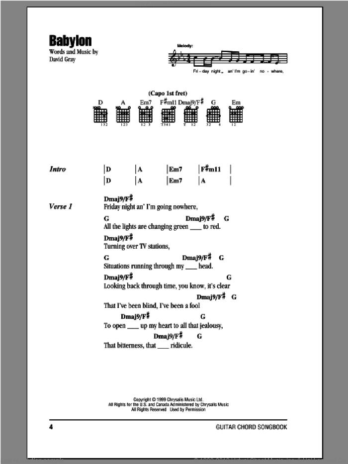 Babylon sheet music for guitar (chords) by David Gray, intermediate skill level