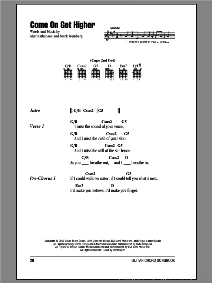 Come On Get Higher sheet music for guitar (chords) by Matt Nathanson, intermediate guitar (chords). Score Image Preview.
