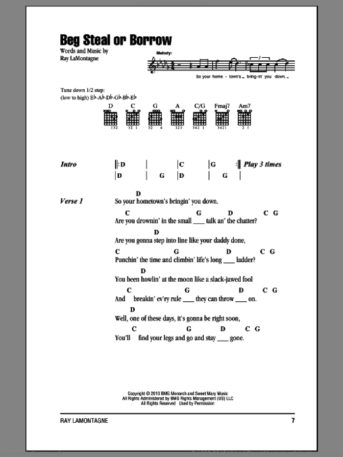 Beg Steal Or Borrow sheet music for guitar (chords) by Ray LaMontagne. Score Image Preview.