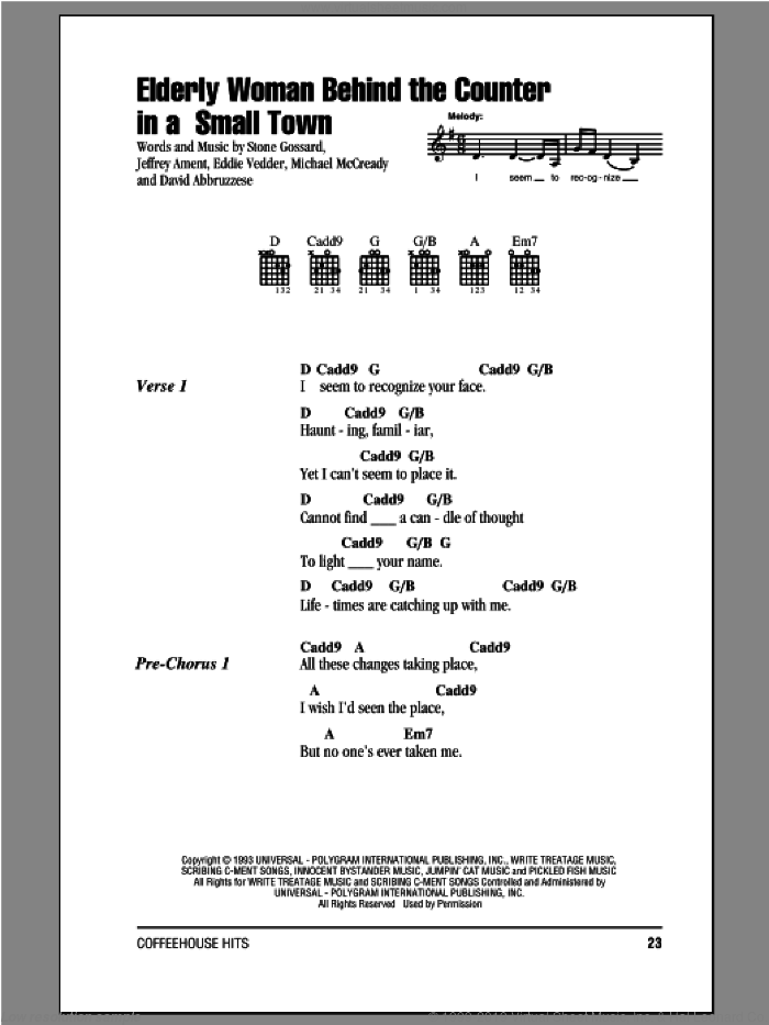 Elderly Woman Behind The Counter In A Small Town sheet music for guitar (chords) by Pearl Jam. Score Image Preview.