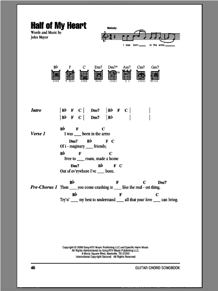 Half Of My Heart sheet music for guitar (chords, lyrics, melody) by John Mayer