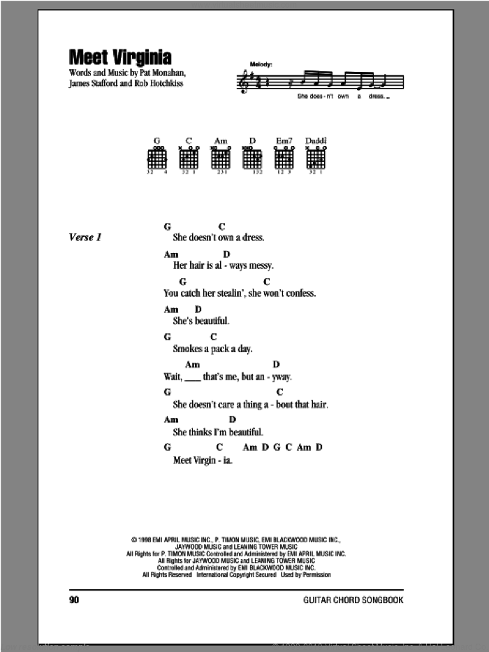 Meet Virginia sheet music for guitar (chords) by Rob Hotchkiss