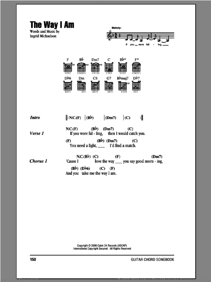 The Way I Am sheet music for guitar (chords) by Ingrid Michaelson, intermediate