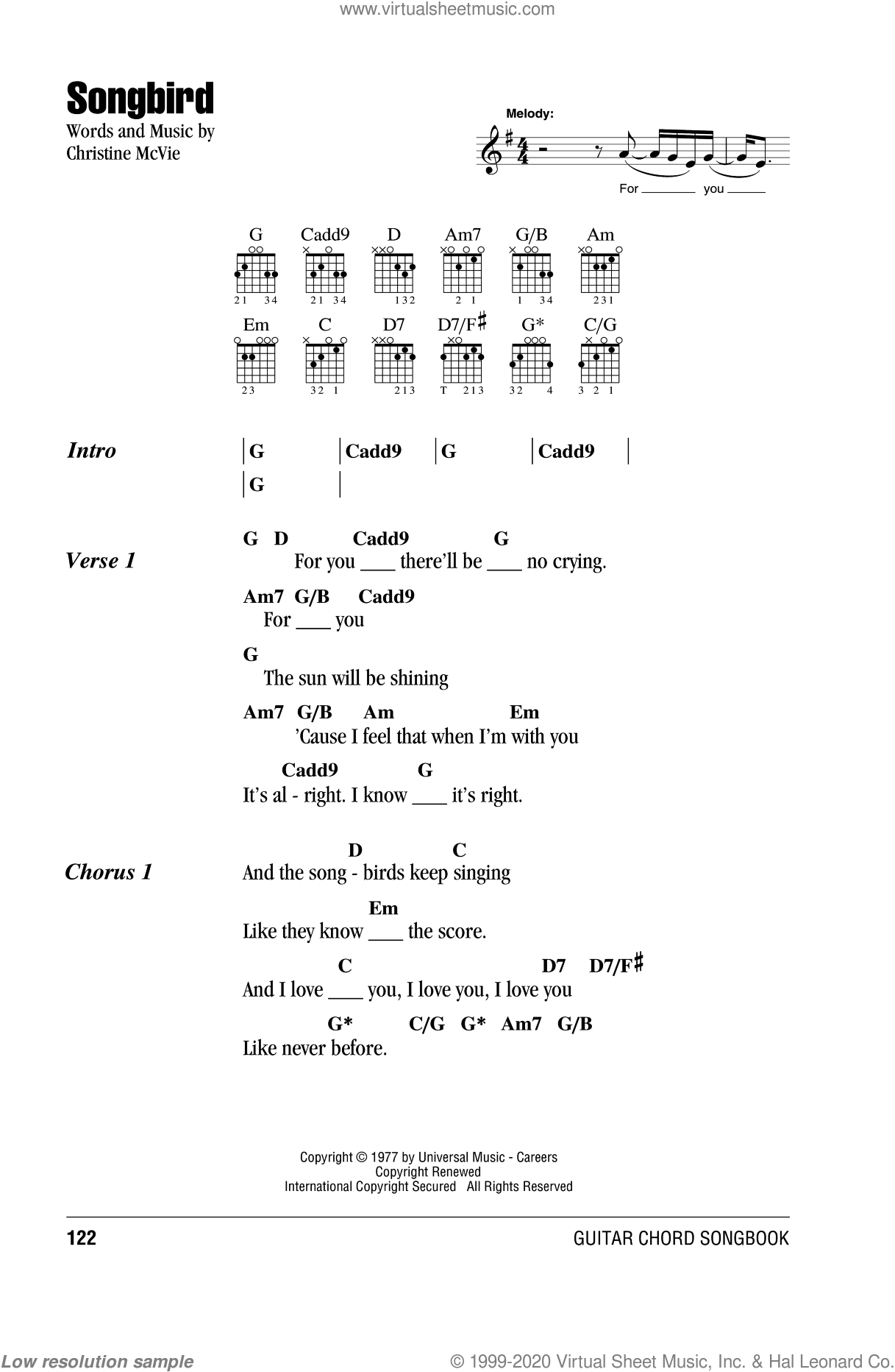 Songbird sheet music for guitar (chords) by Fleetwood Mac. Score Image Preview.
