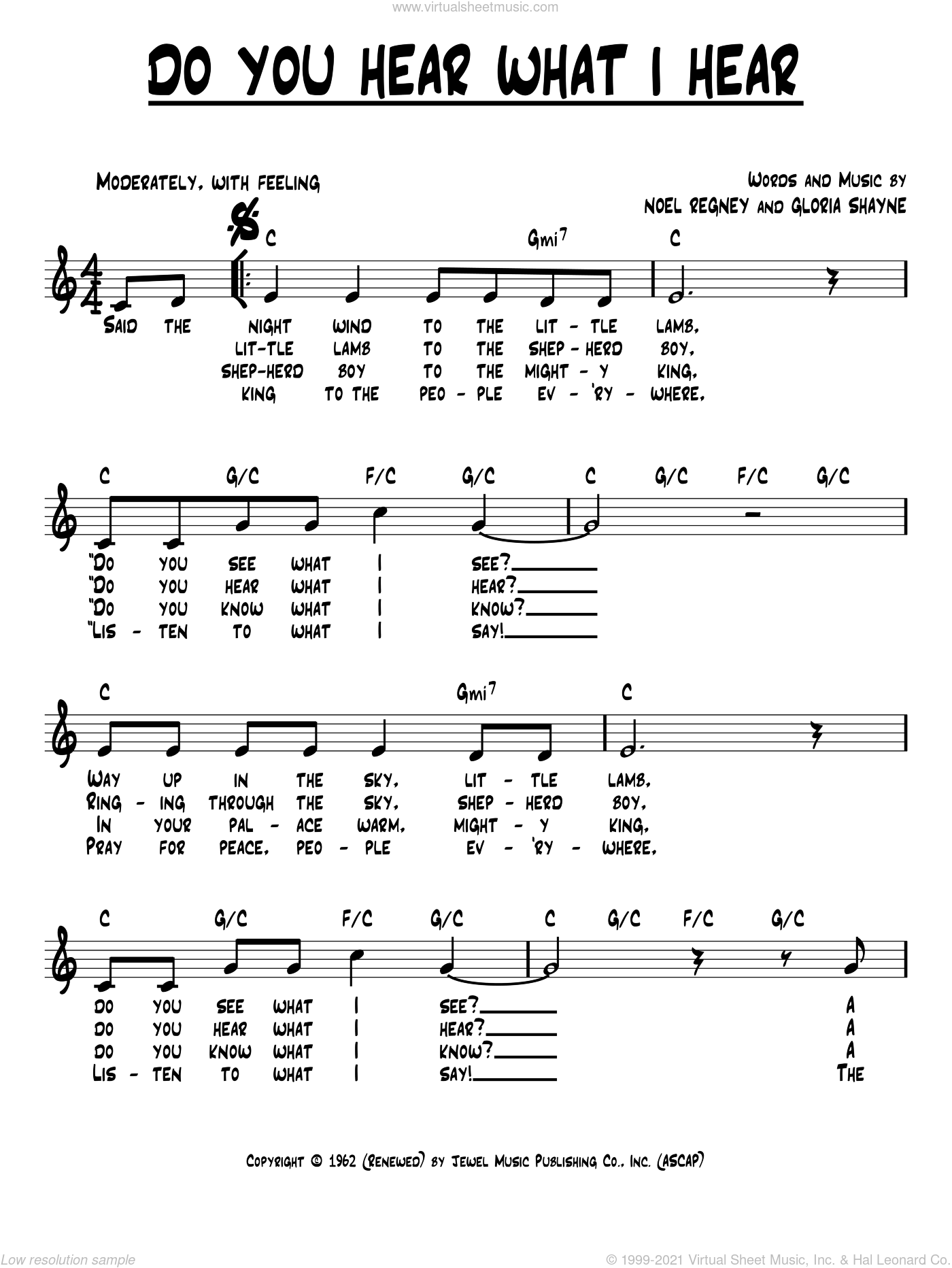 Do You Hear What I Hear sheet music for voice and other instruments (fake book) by Noel Regney and Gloria Shayne, intermediate skill level