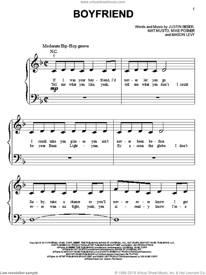 Boyfriend sheet music for piano solo (big note book) by Justin Bieber, easy piano (big note book)