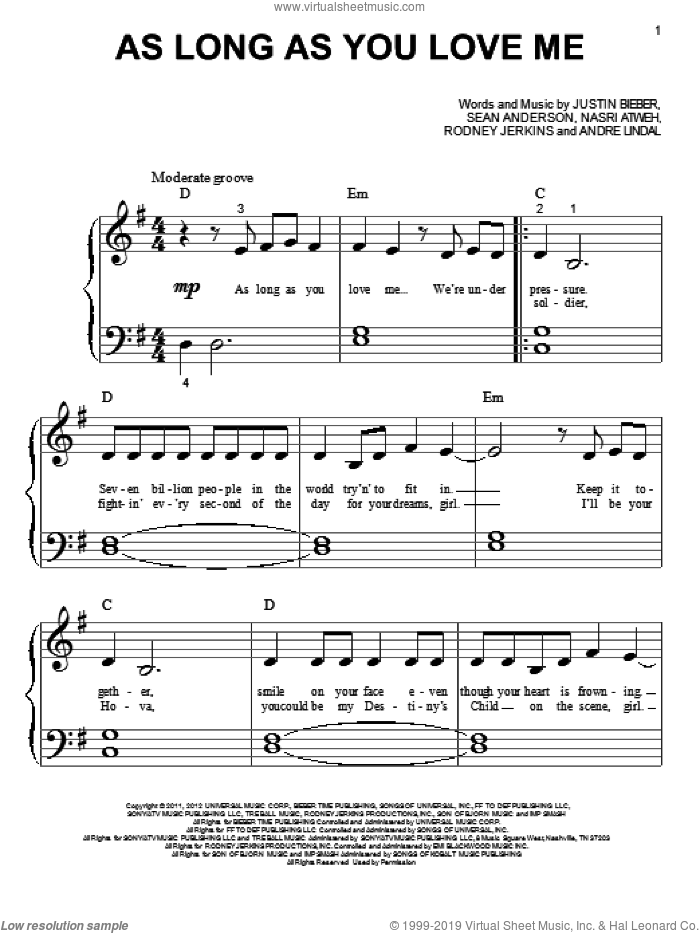 As Long As You Love Me sheet music for piano solo (big note book) by Justin Bieber. Score Image Preview.