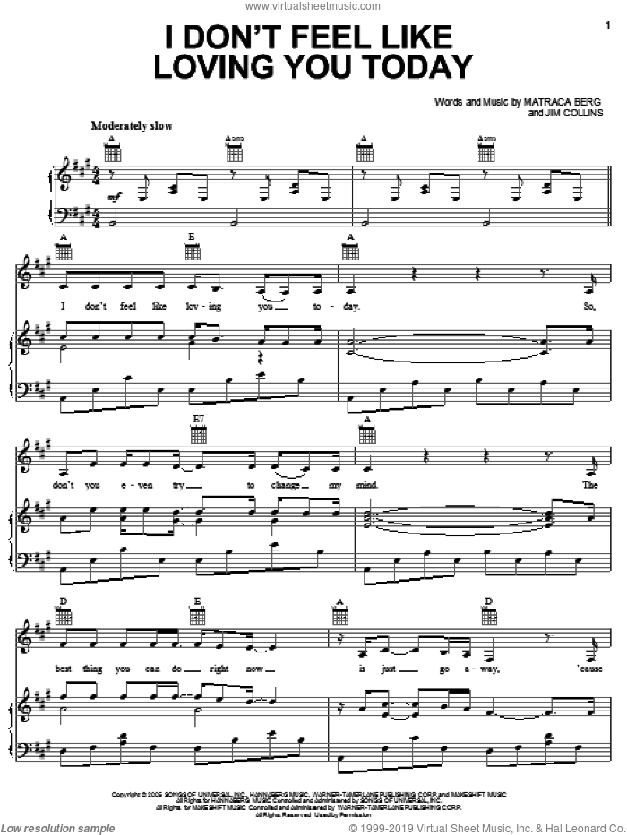 I Don't Feel Like Loving You Today sheet music for voice, piano or guitar by Gretchen Wilson, Jim Collins and Matraca Berg, intermediate skill level