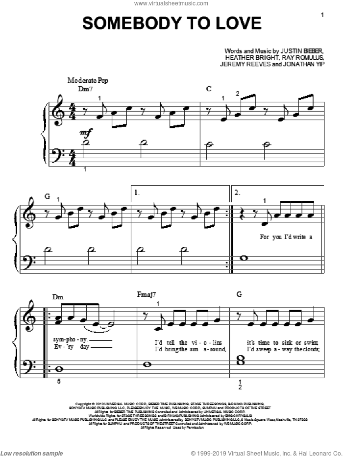 Somebody To Love sheet music for piano solo (big note book) by Justin Bieber