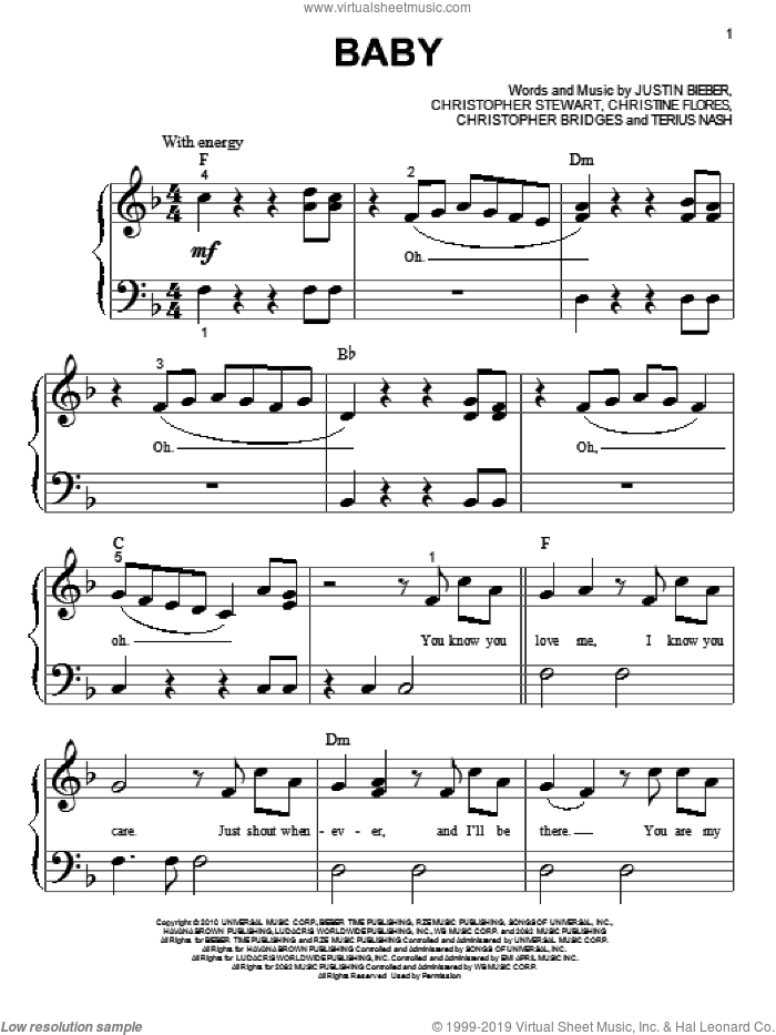 Baby sheet music for piano solo (big note book) by Justin Bieber, easy piano (big note book)