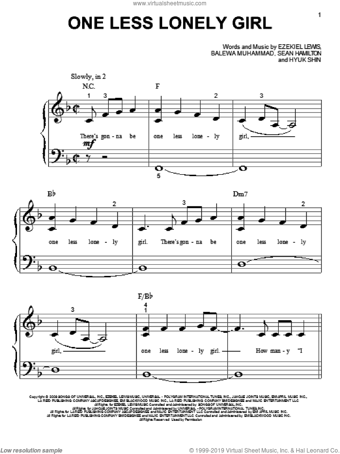 One Less Lonely Girl sheet music for piano solo (big note book) by Justin Bieber, easy piano (big note book). Score Image Preview.