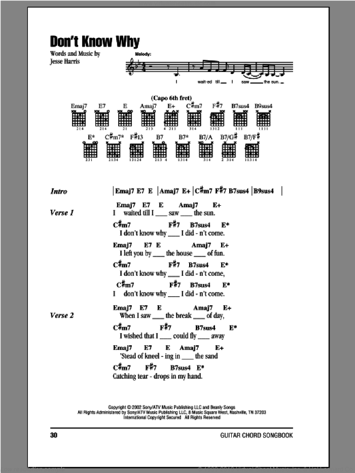 Don't Know Why sheet music for guitar (chords) by Norah Jones. Score Image Preview.