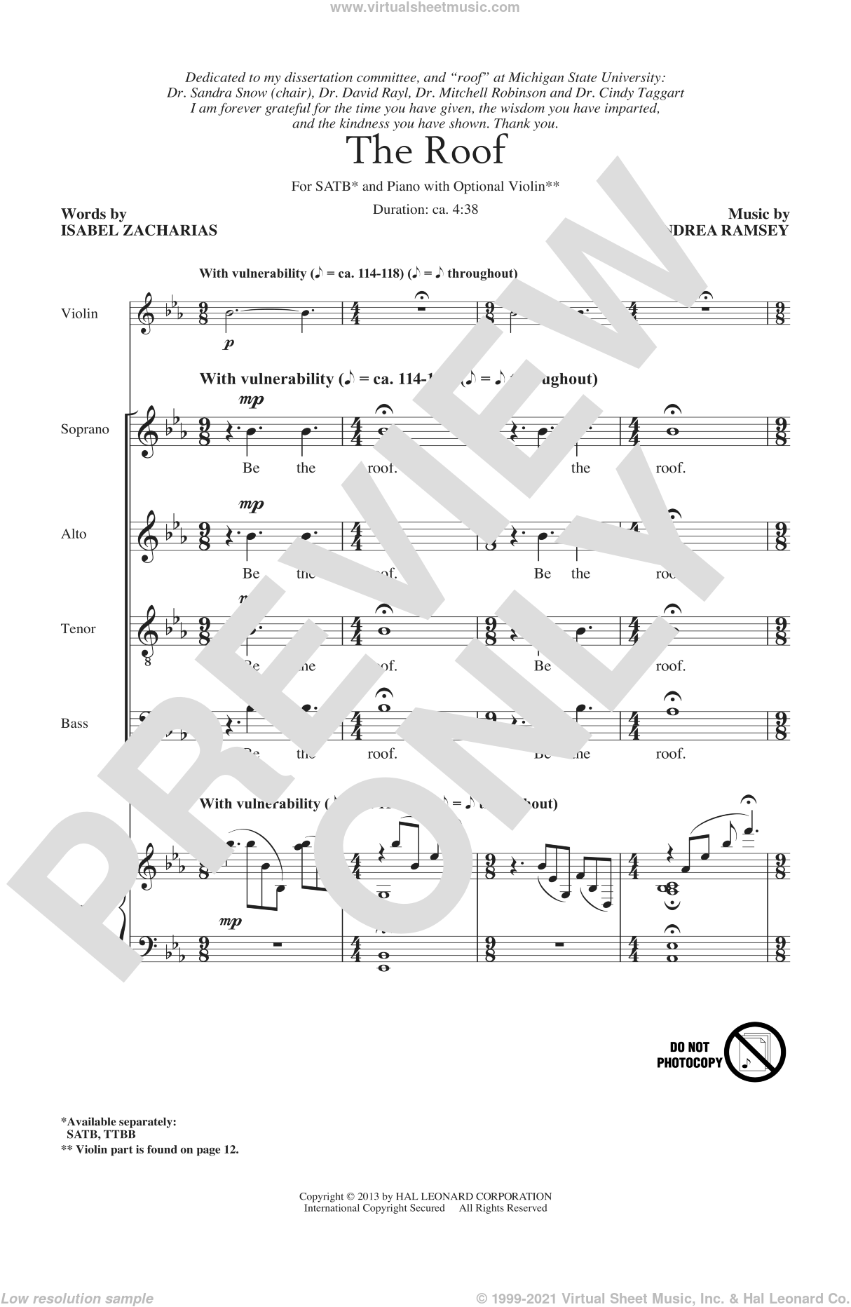 The Roof sheet music for choir and piano (SATB) by Andrea Ramsey