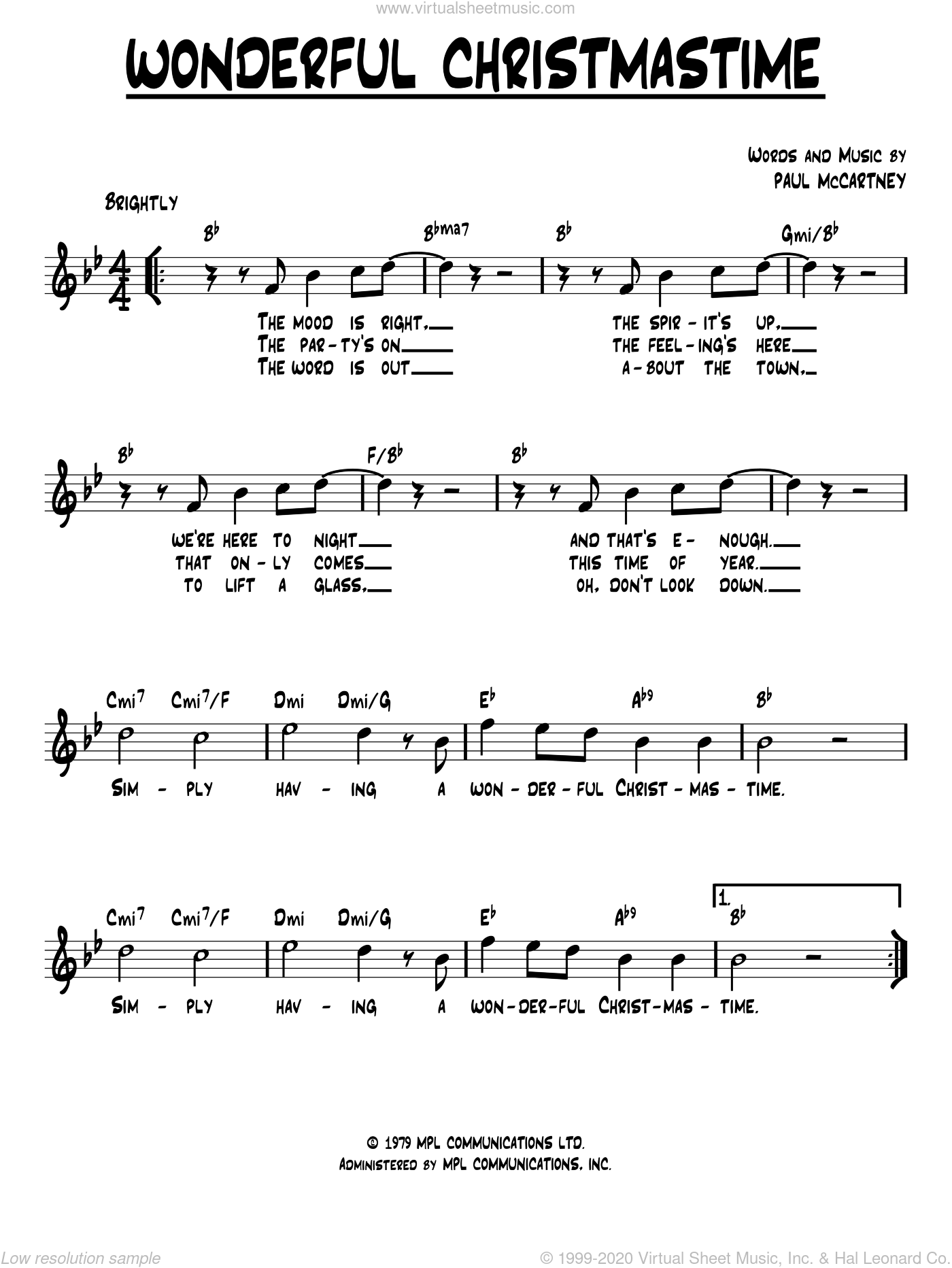 Wonderful Christmastime sheet music for voice and other instruments (fake book) by Paul McCartney and Eli Young Band, intermediate skill level