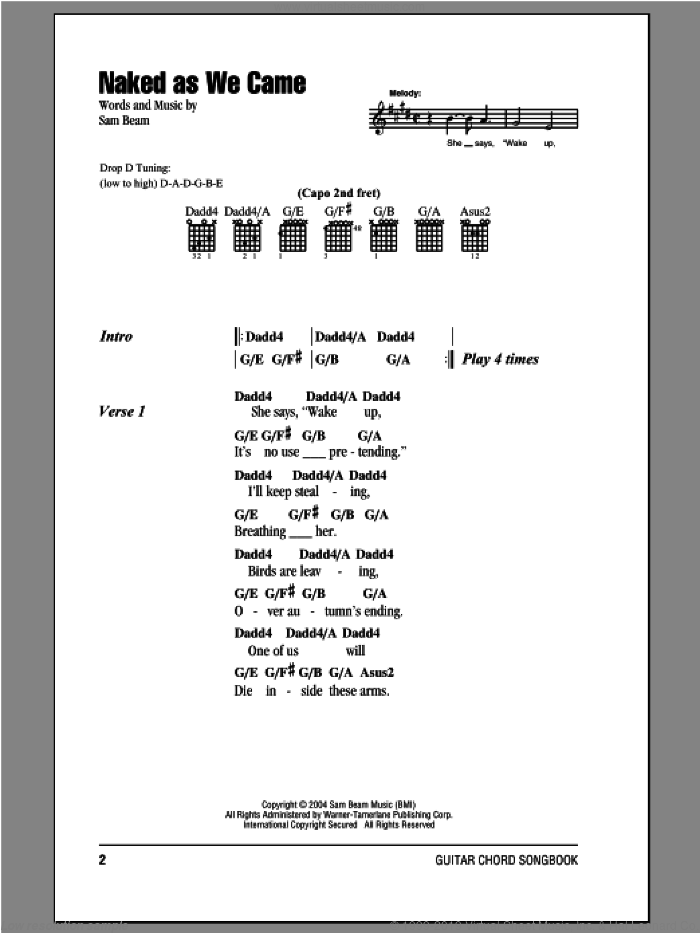 Naked As We Came sheet music for guitar (chords) by Iron & Wine, intermediate