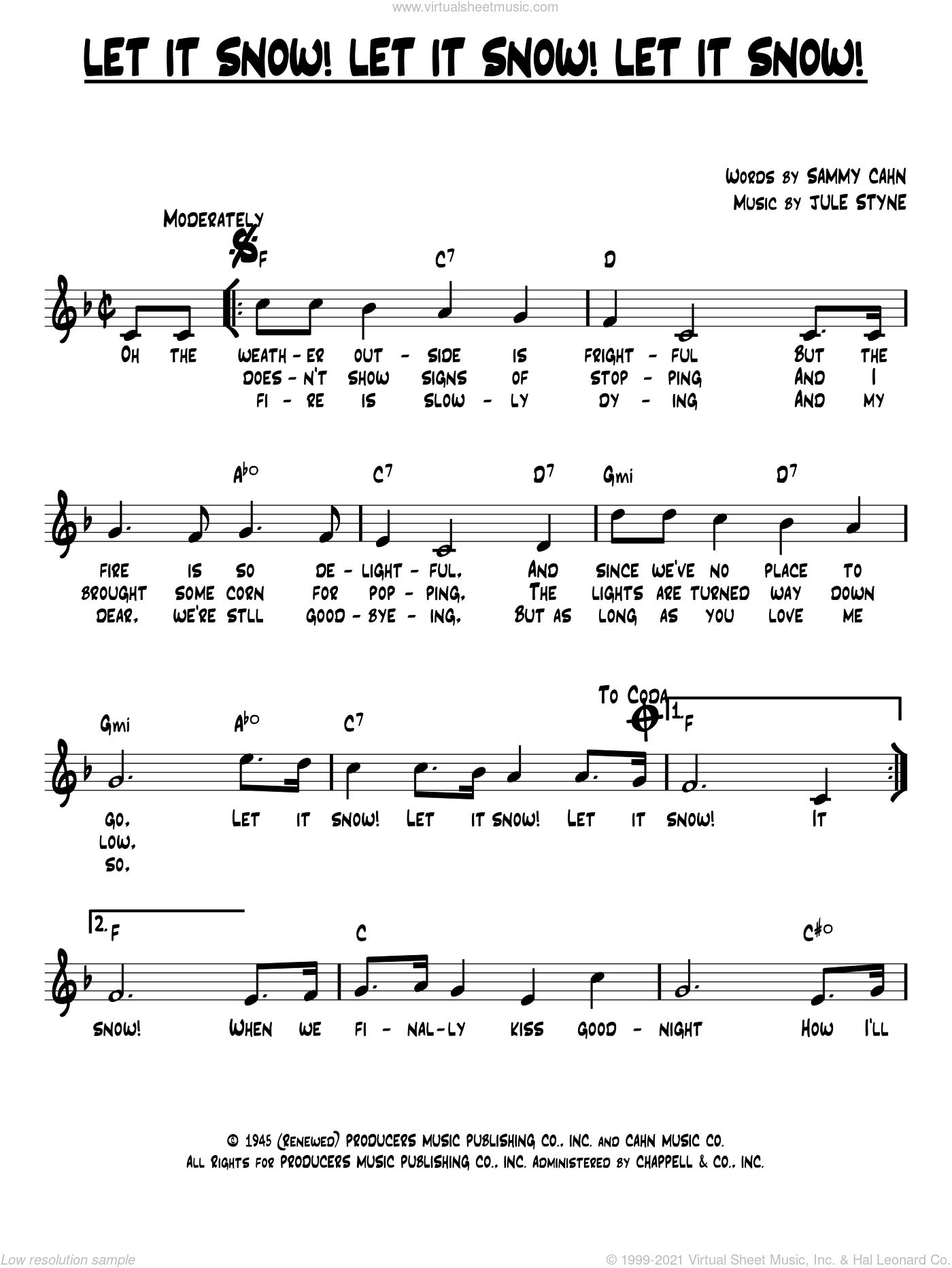 Let It Snow! Let It Snow! Let It Snow! sheet music for voice and other instruments (fake book) by Sammy Cahn and Jule Styne, intermediate skill level