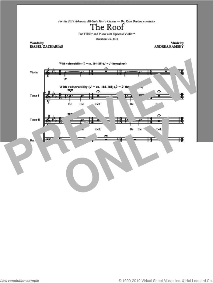 The Roof sheet music for choir and piano (TTBB) by Andrea Ramsey. Score Image Preview.