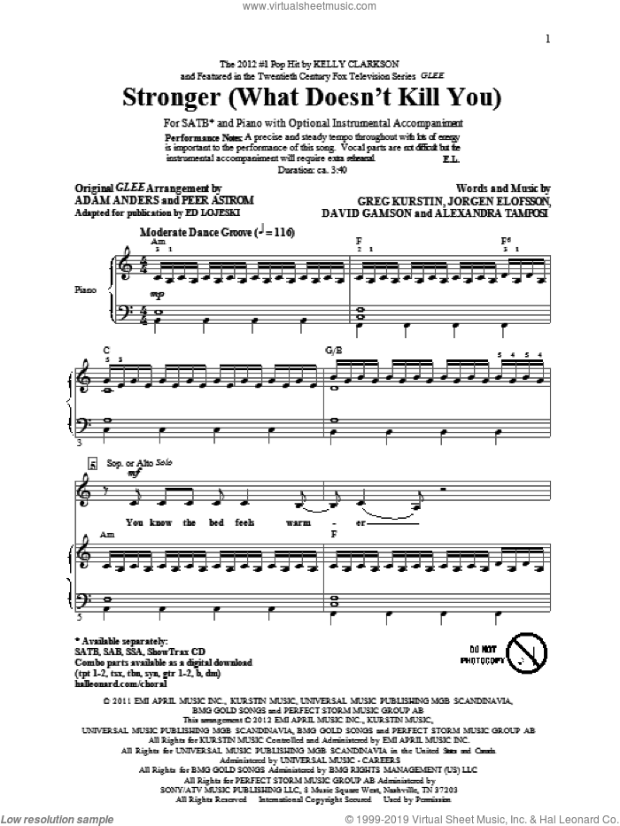 Stronger (What Doesn't Kill You) sheet music for choir (SATB) by Ed Lojeski and Glee Cast