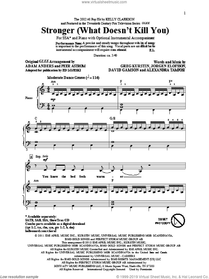 Stronger (What Doesn't Kill You) sheet music for choir (SSA: soprano, alto) by Glee Cast and Ed Lojeski, intermediate skill level