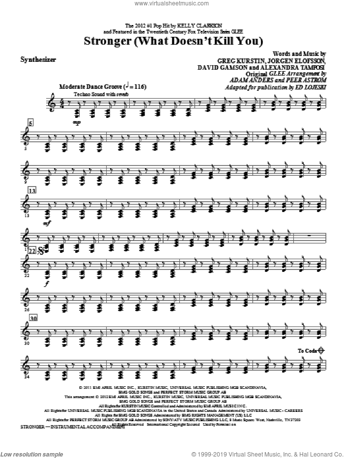 Stronger (What Doesn't Kill You) sheet music for orchestra/band (synthesizer) by Ed Lojeski