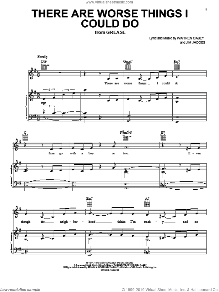 There Are Worse Things I Could Do sheet music for voice, piano or guitar by Jim Jacobs, Glee Cast and Warren Casey, intermediate skill level