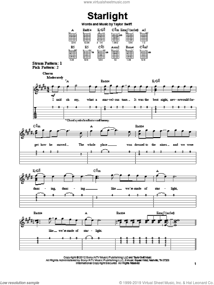 Starlight sheet music for guitar solo (easy tablature) by Taylor Swift. Score Image Preview.