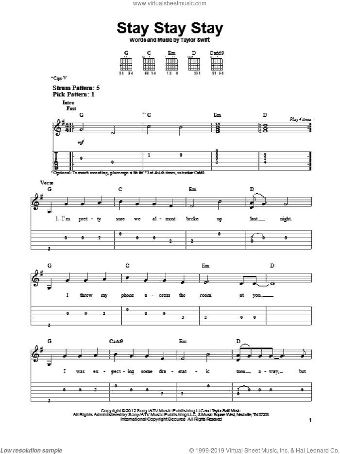 Stay Stay Stay sheet music for guitar solo (easy tablature) by Taylor Swift. Score Image Preview.