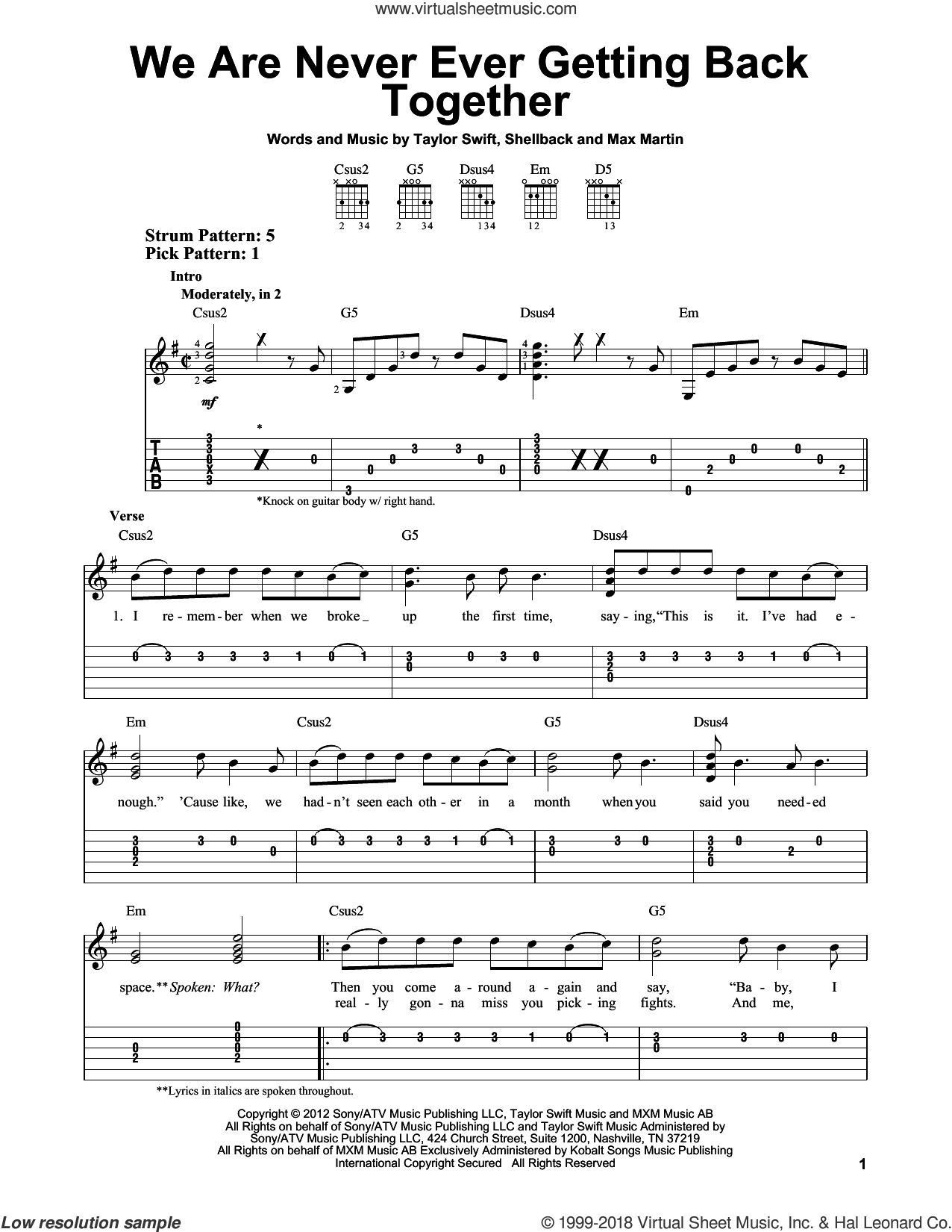 We Are Never Ever Getting Back Together sheet music for guitar solo (easy tablature) by Taylor Swift. Score Image Preview.