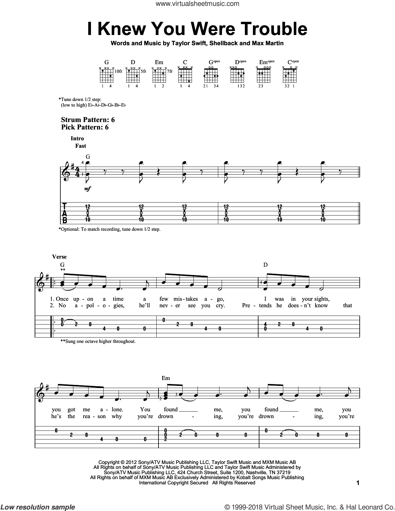I Knew You Were Trouble sheet music for guitar solo (easy tablature) by Taylor Swift, easy guitar (easy tablature). Score Image Preview.