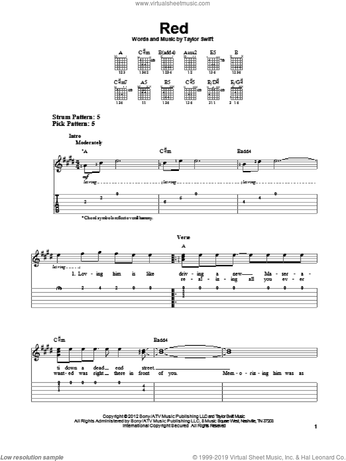 Red sheet music for guitar solo (easy tablature) by Taylor Swift, easy guitar (easy tablature). Score Image Preview.