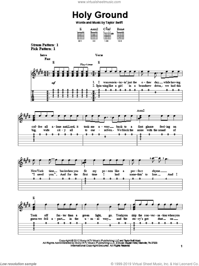 Holy Ground sheet music for guitar solo (easy tablature) by Taylor Swift, easy guitar (easy tablature)