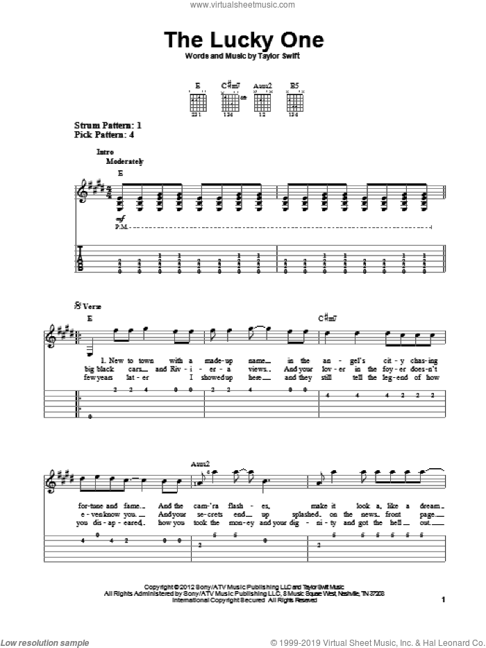 The Lucky One sheet music for guitar solo (easy tablature) by Taylor Swift. Score Image Preview.
