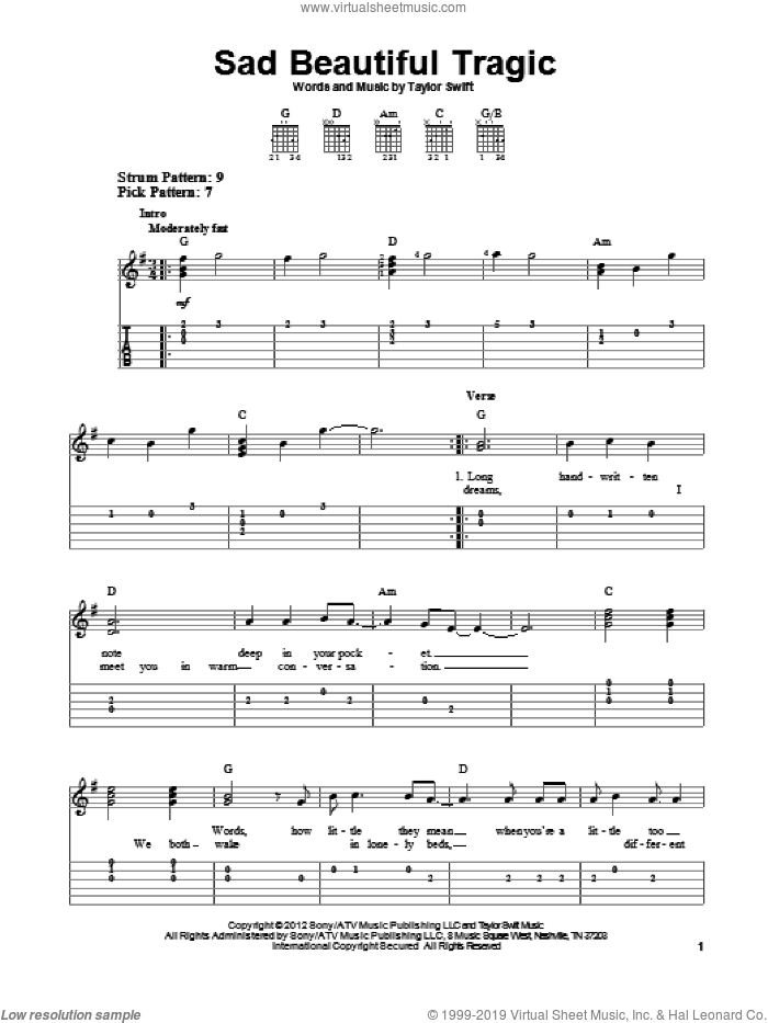 Sad Beautiful Tragic sheet music for guitar solo (easy tablature) by Taylor Swift, easy guitar (easy tablature)