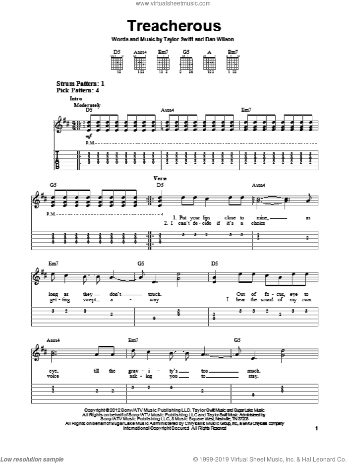 Treacherous sheet music for guitar solo (easy tablature) by Taylor Swift