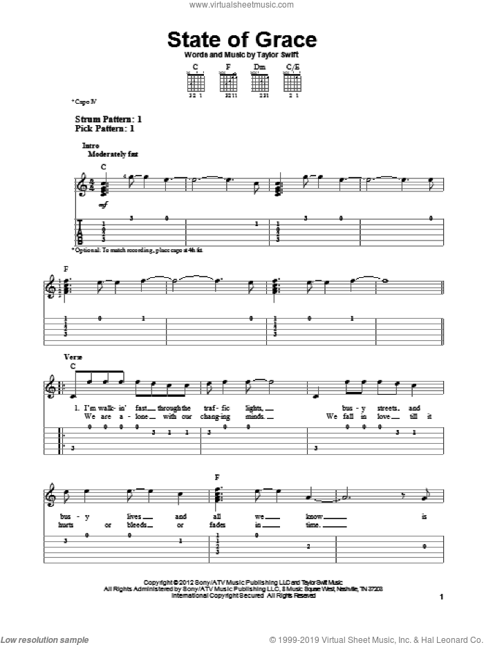 State Of Grace sheet music for guitar solo (easy tablature) by Taylor Swift. Score Image Preview.