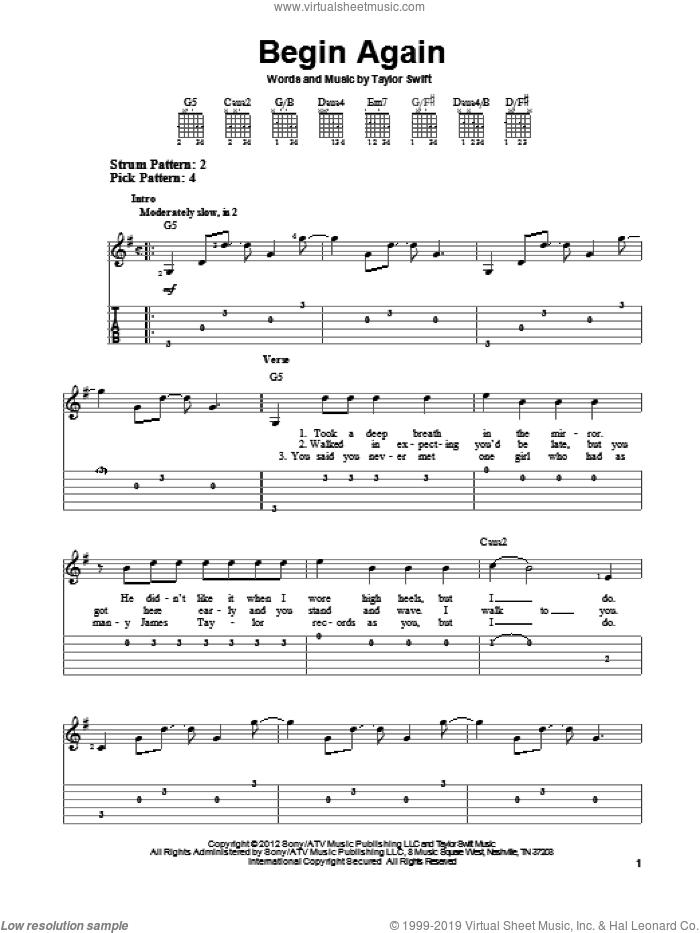 Begin Again sheet music for guitar solo (easy tablature) by Taylor Swift