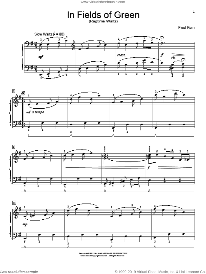 In Fields Of Green sheet music for piano solo (elementary) by Fred Kern, beginner piano (elementary)