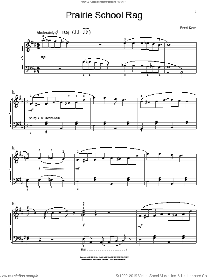 Prairie School Rag sheet music for piano solo (elementary) by Fred Kern