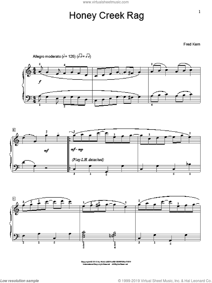 Honey Creek Rag sheet music for piano solo (elementary) by Fred Kern, beginner piano (elementary). Score Image Preview.