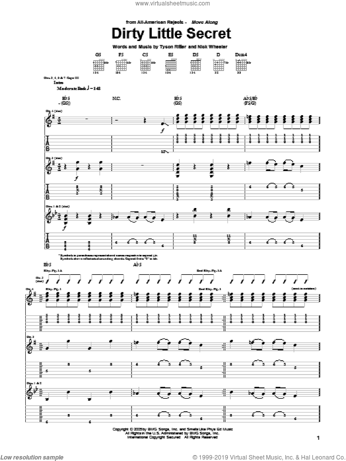 Dirty Little Secret sheet music for guitar (tablature) by Tyson Ritter. Score Image Preview.