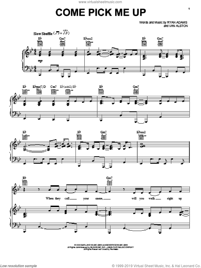 Come Pick Me Up sheet music for voice, piano or guitar by Ryan Adams and Van Alston, intermediate skill level