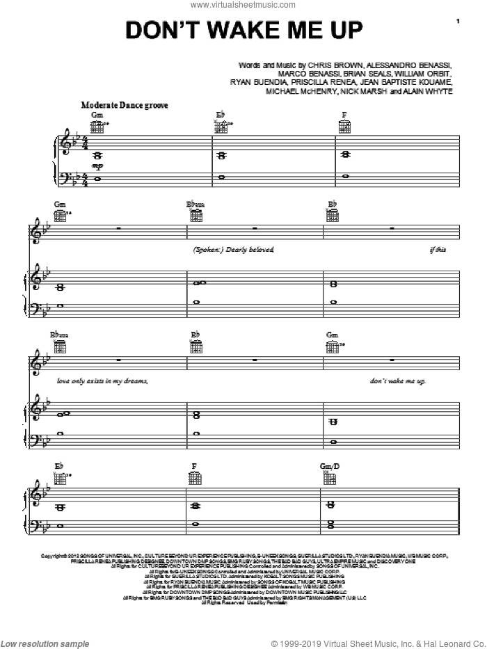 Don't Wake Me Up sheet music for voice, piano or guitar by Chris Brown, intermediate skill level