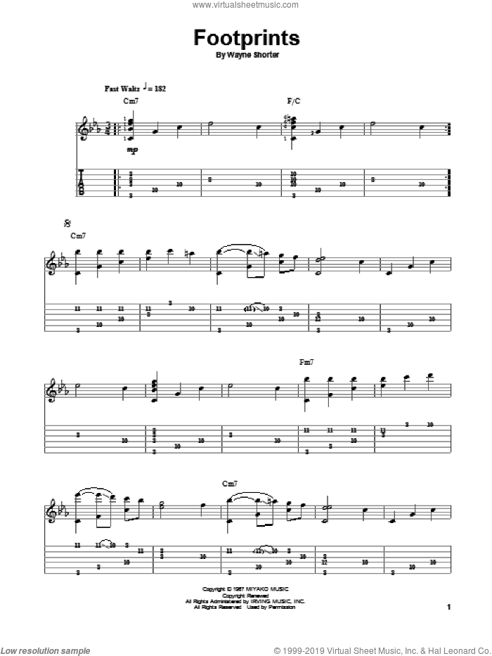 Footprints sheet music for guitar solo by Jake Reichbart