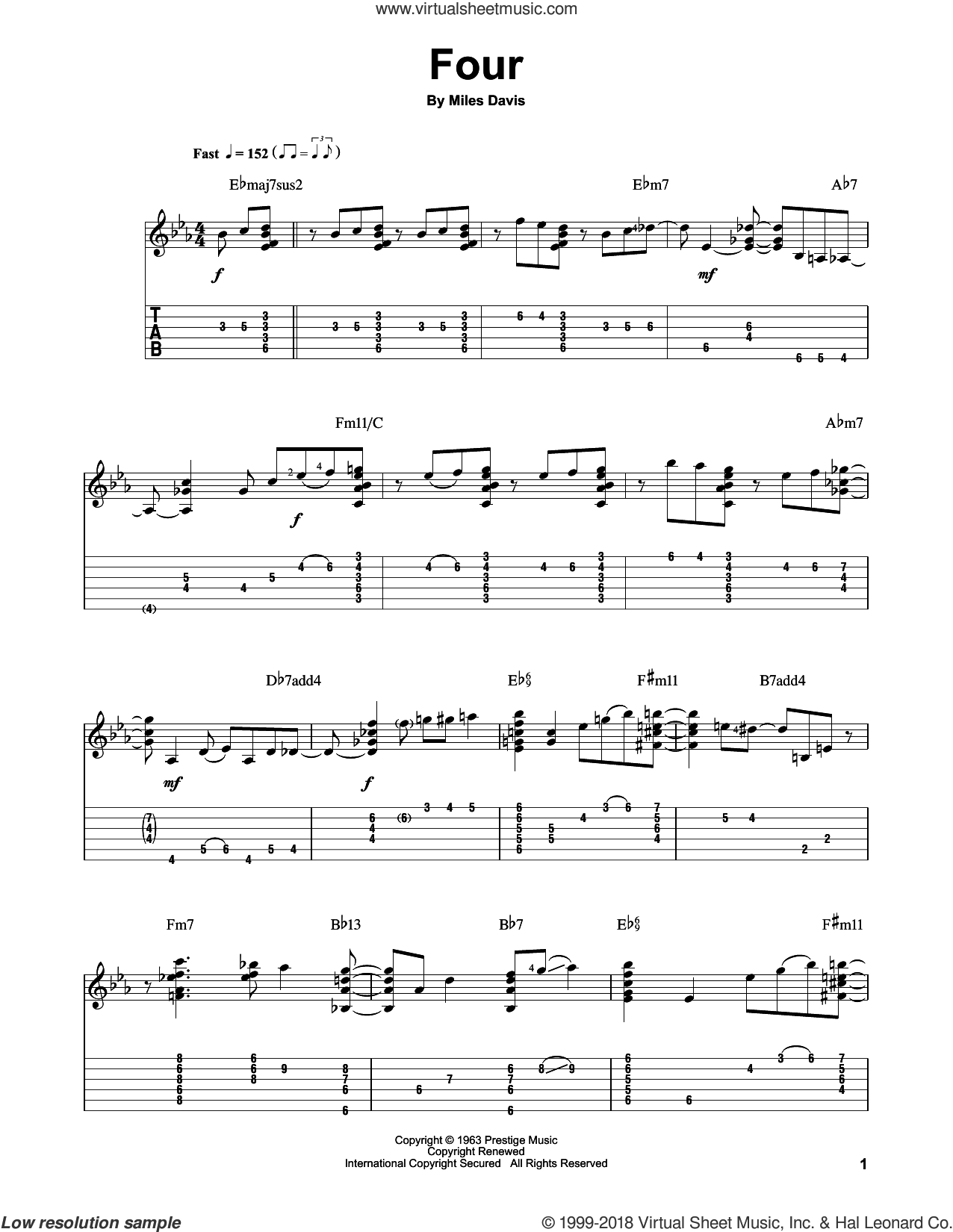 Four sheet music for guitar solo by Jake Reichbart, John Coltrane and Miles Davis. Score Image Preview.