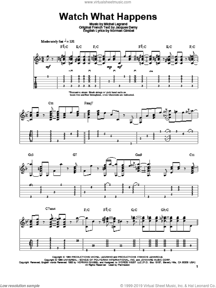 Watch What Happens sheet music for guitar solo by Michel LeGrand, Jake Reichbart and Norman Gimbel. Score Image Preview.